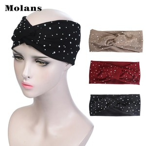 MOLANS Pearl Solid Chiffon Hairbands Autumn And Winter New Arrival Headbands Turban Headwear Women Fashion Hair Accessories 2019