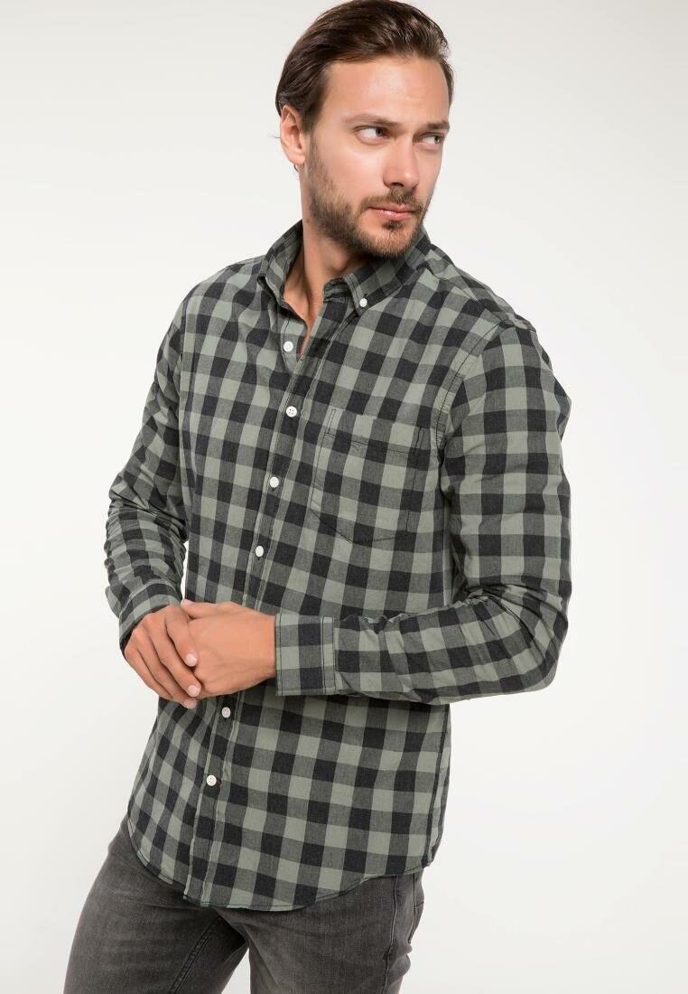 Defacto masculino clássico vermelho azul xadrez padrão camisa casual manga longa solta outono grade Shirt-I9616AZ18AU