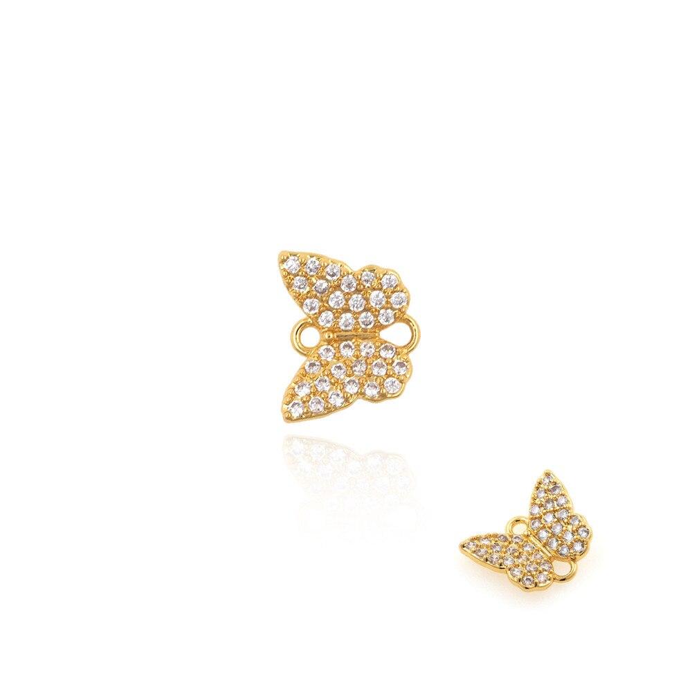 Соединитель для золотых бабочек с микропаве из фианита, аксессуары для браслетов и ожерелий, материалы для изготовления ювелирных изделий ...