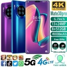 Mate30pro 6,7 Zoll HD + Rand Bildschirm Smartphones Android10 Universal 5G Handys MTK6799 8 + 512GB 4 Carmera dual SIM Handy