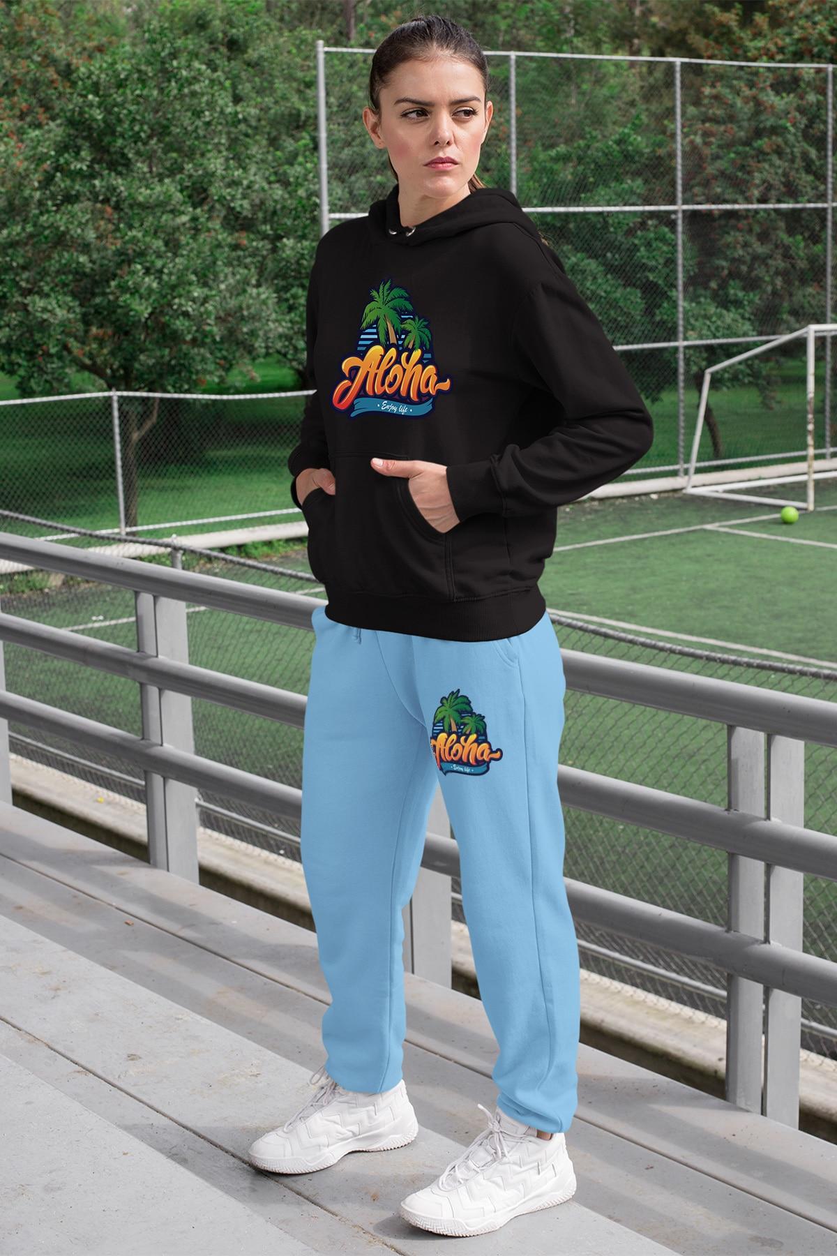 Conjunto de chándal Angemiel Wear Aloha Enjoy Life para mujer, Sudadera con capucha negra, pantalones de chándal azules