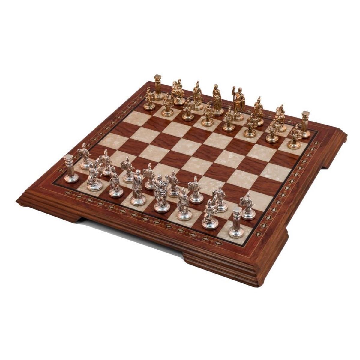 Luxury Rosewood Chess Game Set - Mosaic Engraved Large Solid Wood Chessboard & Metal Figures - Backgammon - Rummy Oyunlar Gift