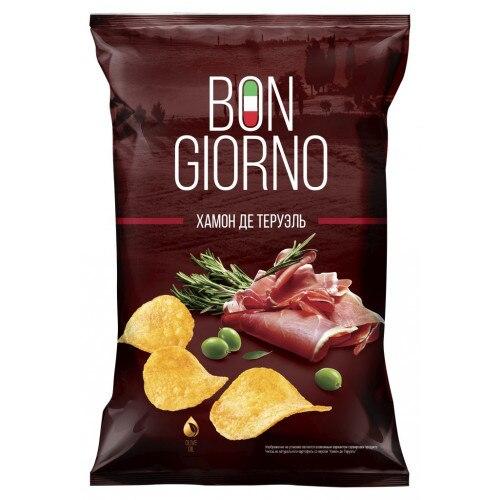 Чипсы Bon Giorno со вкусом Хамон де Теруэль 90 г|Чипсы фруктовые Чипсы| |