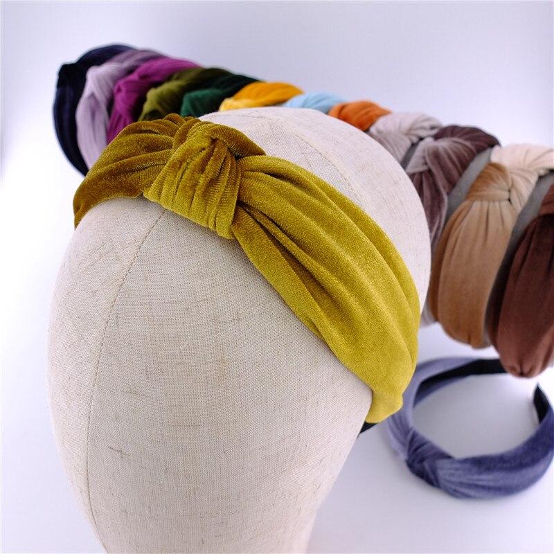 Velvet Hairbands Girls Women Vintage Velvet Knot Cross Turban Headbands Bath Beauty Hair Hoop bow Ac