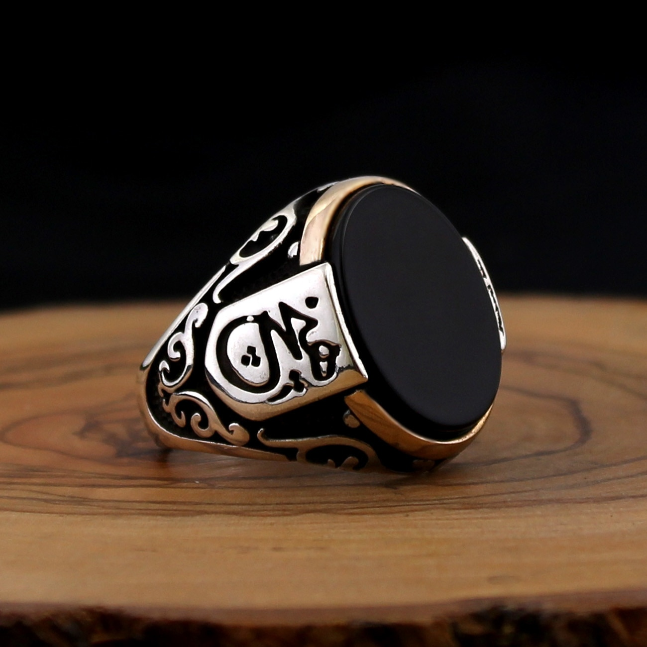 Anillo de Plata de Ley 925 para hombre con ónix negro Aqeeq, anillo de piedra de circón, anillos de regalo para hombre, todos los tamaños (hecho en Turquía)