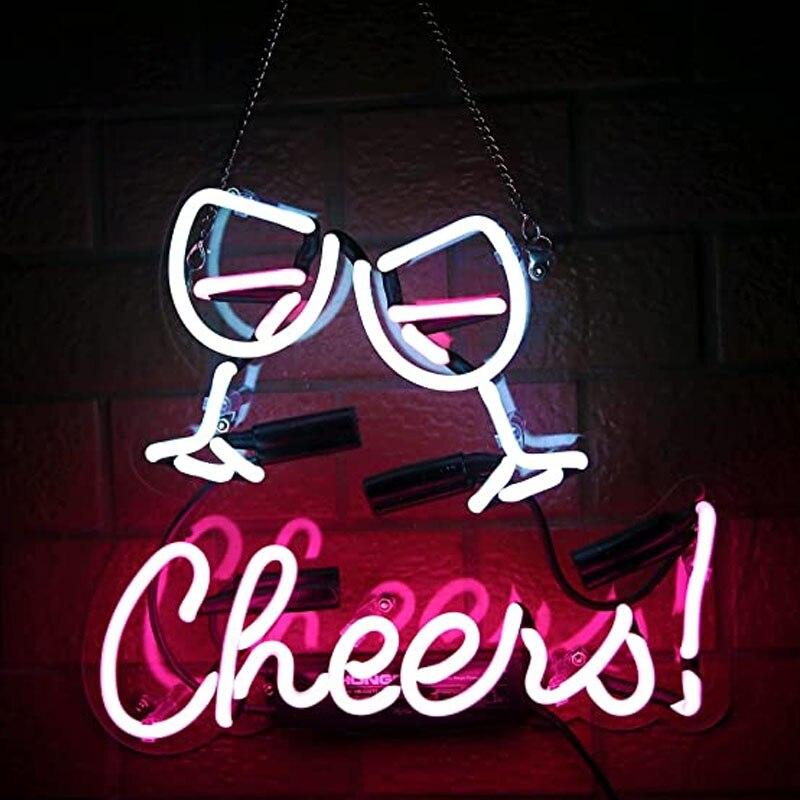 هتاف كأس النيون بار تسجيل النيون تسجيل ضوء الجدار شنق لغرفة البيرة بار الجدار هدية الزفاف الديكور غرفة المنزل غرفة نوم الحب ديكور