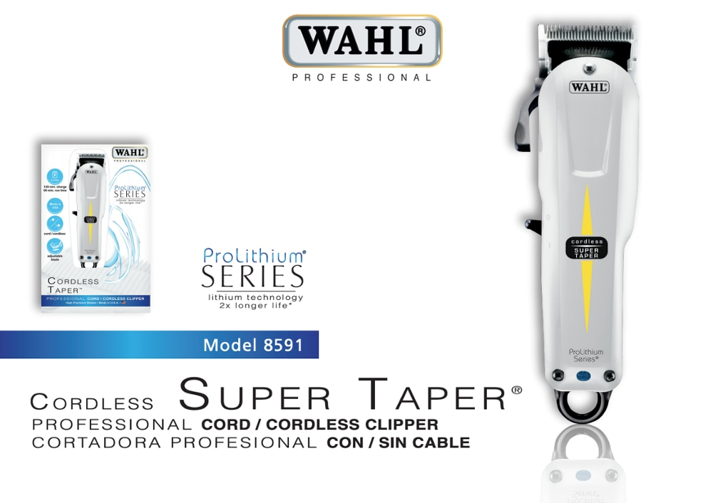 WAHL Professional Model 8591 ProLithium Series Super Taper Cord/Cordless Hair Clipper Trimmer, Hair Cutting Machine, Shaver enlarge