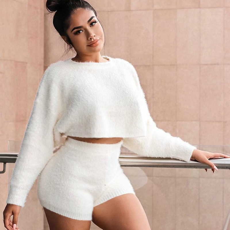 Shaggy Solid Color White Women Two Piece Set Sexy Fur Sweater Batwing Sleeve Crop Top Shorts Set Outfits 2020 Winter Lounge Wear