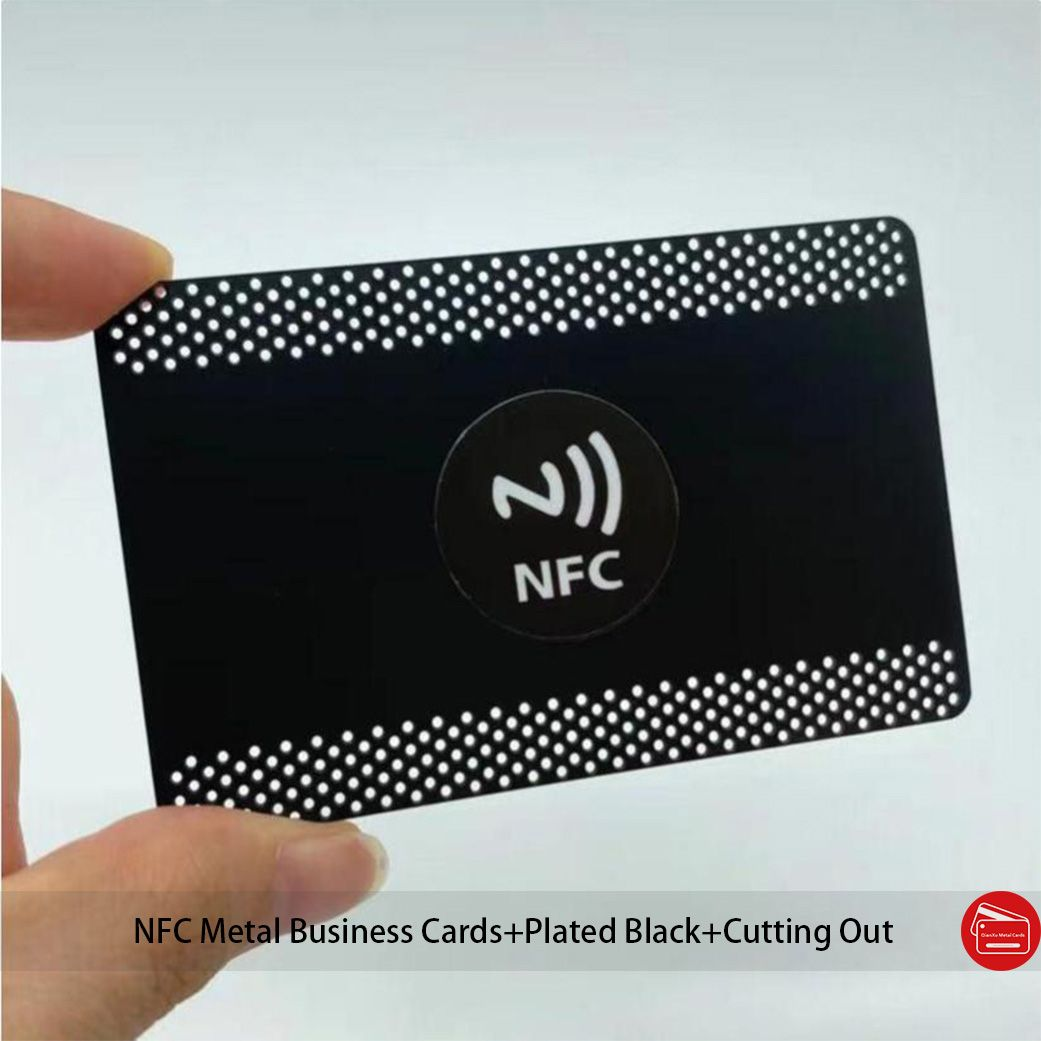 NFC Metal Business Cards Custom Shape Screen Printing Logo With Round/Square NFC Sticker