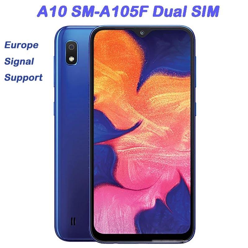 Разблокированный сотовый телефон Samsung Galaxy A10 A105F, 6,2 дюйма, Восстановленный, 2 Гб ОЗУ, 32 Гб ПЗУ, 13 МП, смартфон Android с двумя SIM-картами