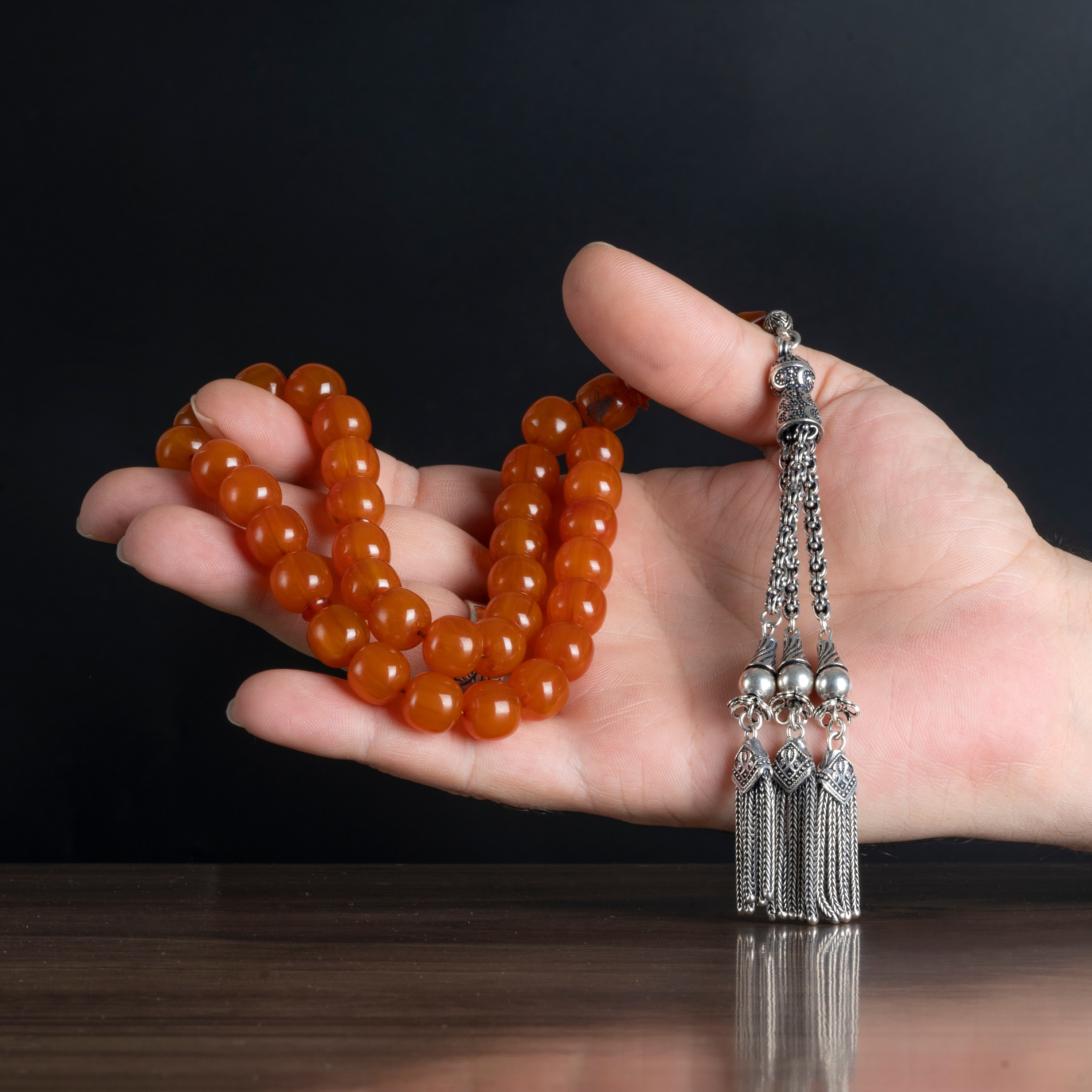 High Quality Guaranteed Muslim Rosary 925Silver Accessories For Men Tassel Original Amber stone 33 Pcs size 10mm orance color