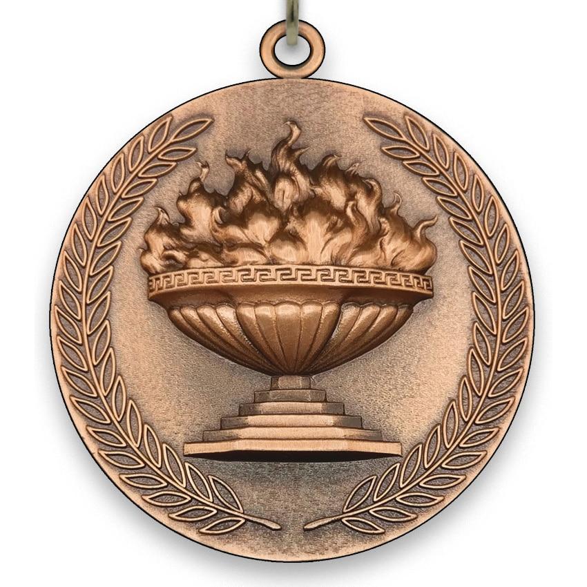 Medalla Grande de Metal - Antorcha Olímpica - Bronce - 6,4cm - con Cinta de tamaño 2,2cm x 80cm, Colores de Cinta a Elegir.