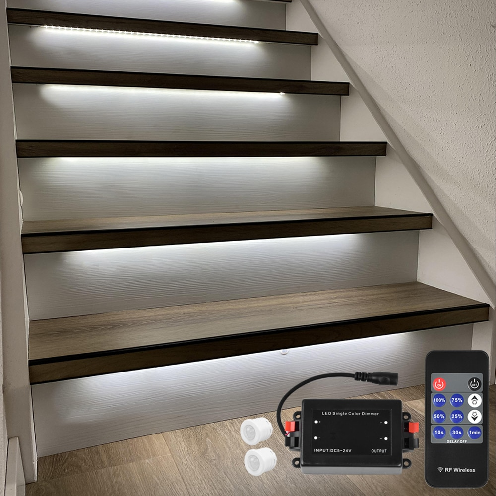16 Steps 1.3M Stairway LED Strip lighting with motion sensor and wireless dimmer-Plug and Play