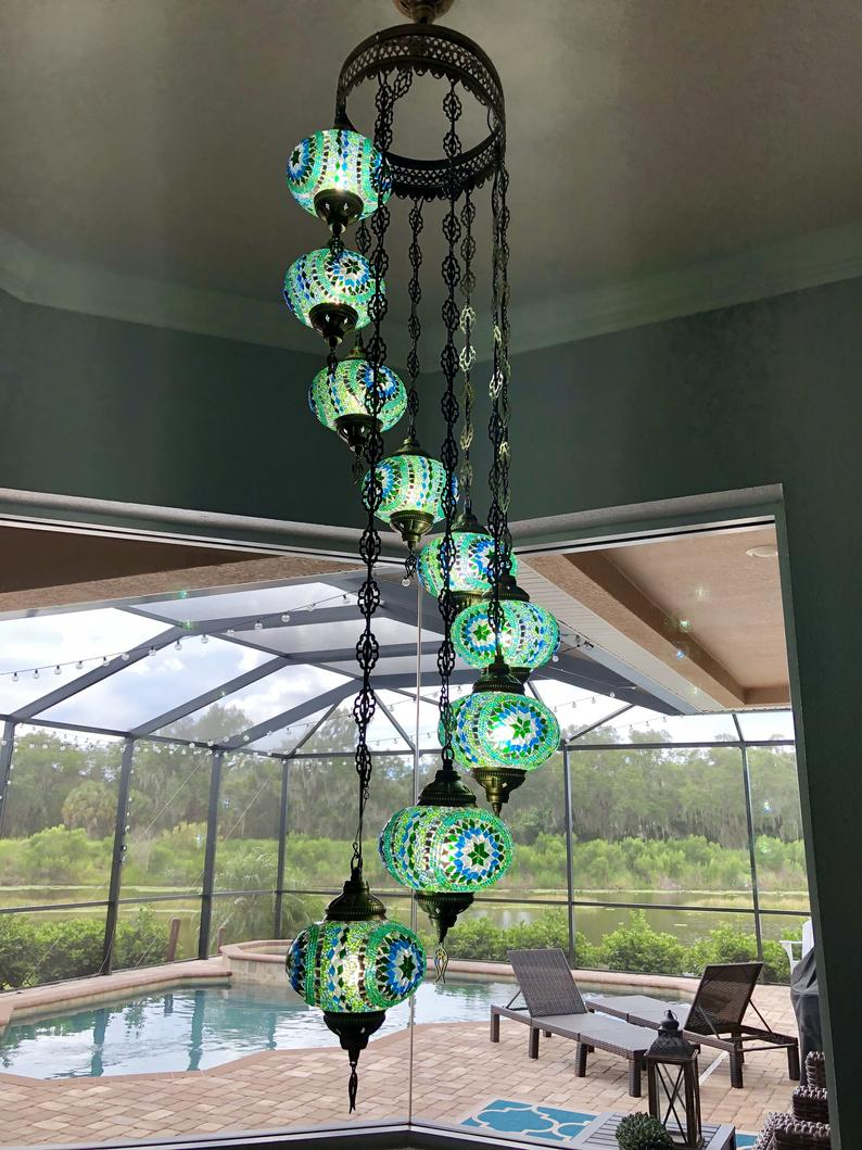Green 9 Ball Housewares, mosaic lamp, turkish Lighting, Chandelier, glass Hanging