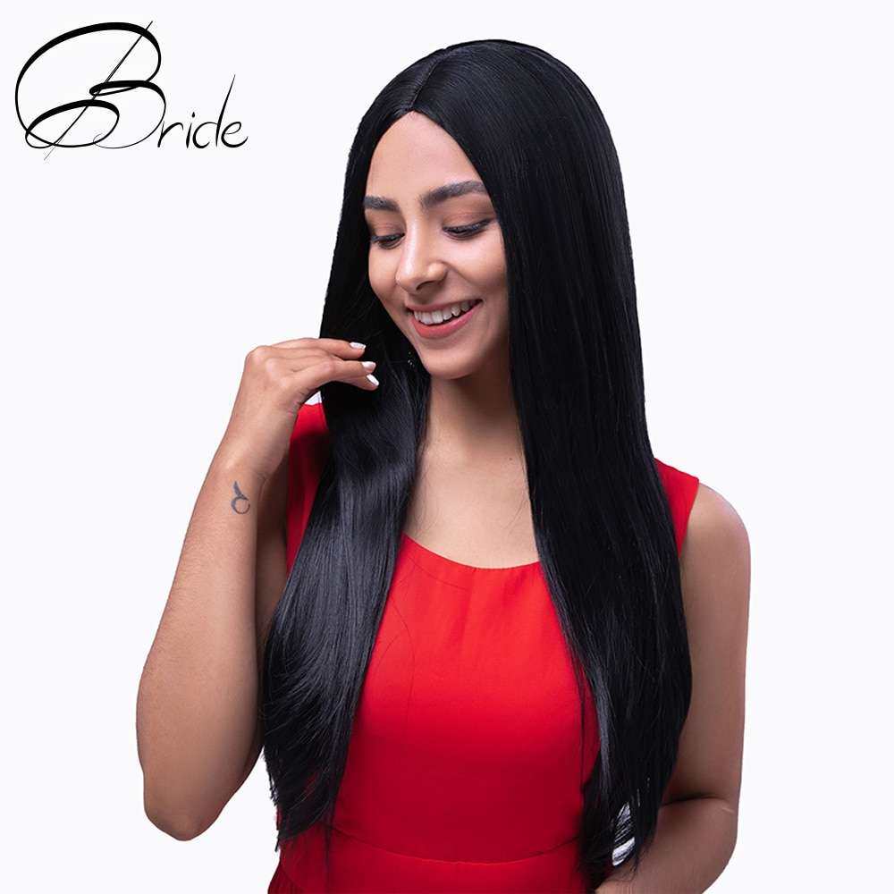BRIDE Black Wigs Heat Resistant Synthetic Wig Long Straight Women's Wigs Daily Use Cosplay Wig For Party Natural Soft With Cap