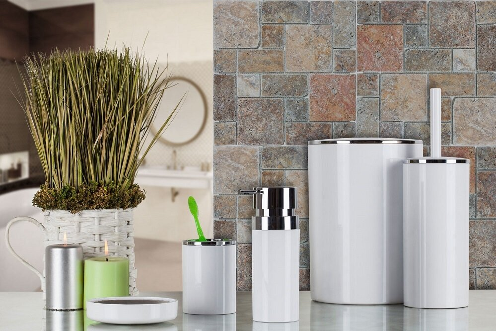 OceanLand 5 Pcs Luxury Bathroom Set Hard Plastic Home Soap Dispenser Tooth Brush Toilet Waste Bin Hygienic Practical Resistant enlarge