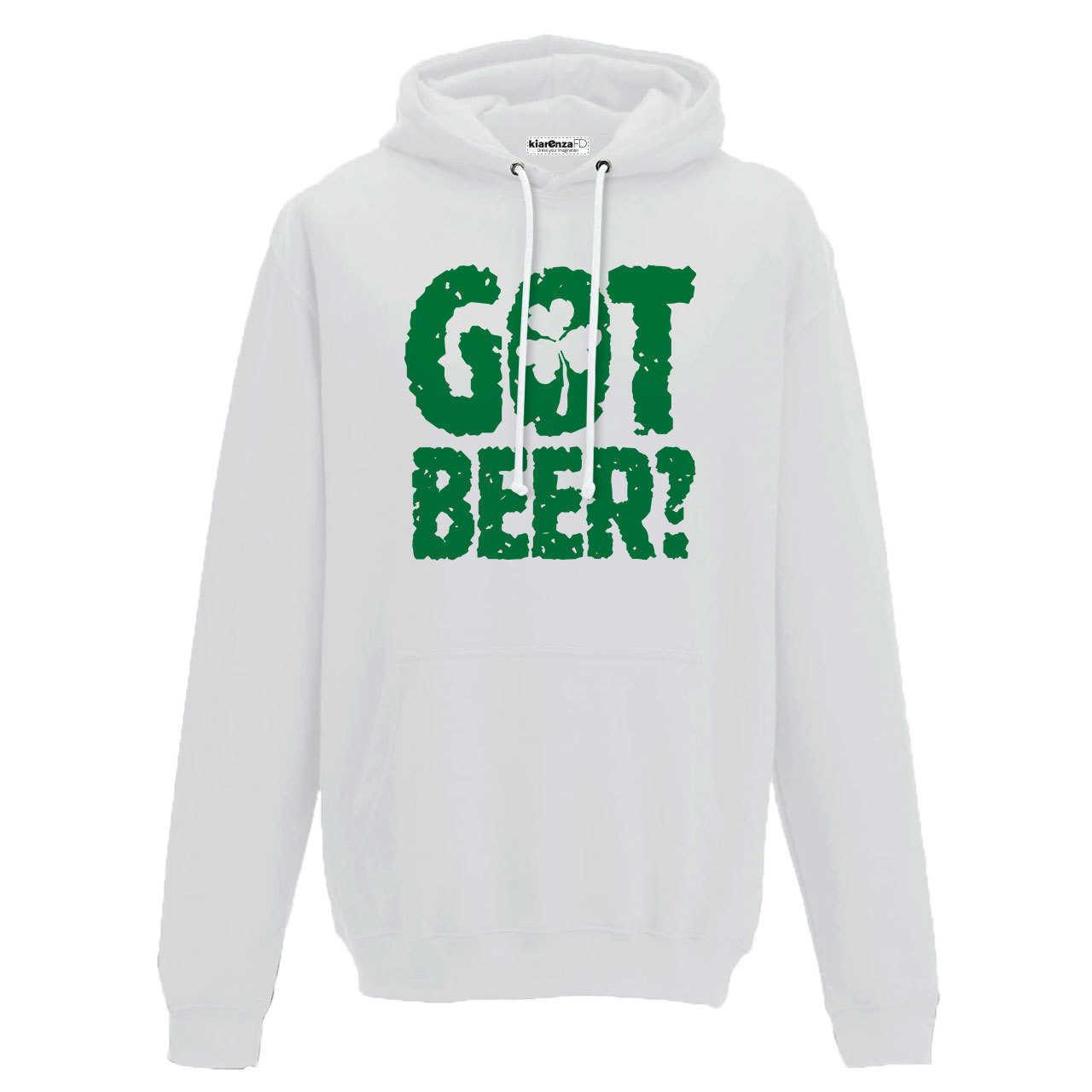 Sudadera Capucha cerveza espuma cerveza taza Got trébol Irlanda S blanco