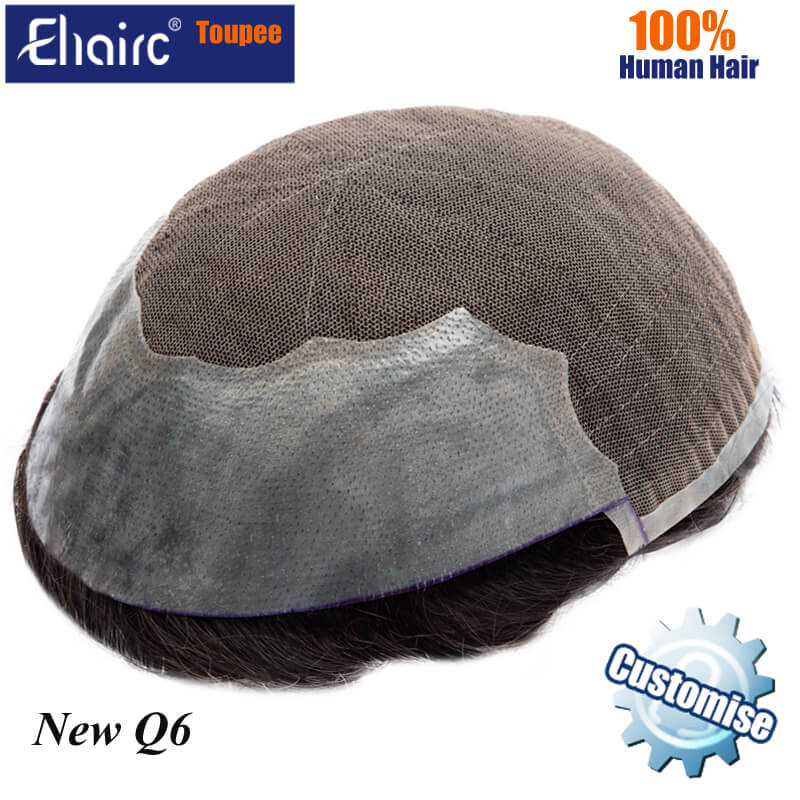 Q6 Customized Lace Toupee Men Lace & PU Wig Men Replacement System Unit For Men Toupee Male Hair Prosthesis 100% Human Hair Wigs