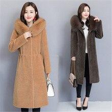 Płaszcz zimowy damski długi odcinek 2020 nowy dekolt w szpic z kapturem, gruba, ciepła kurtka z wełny Haining