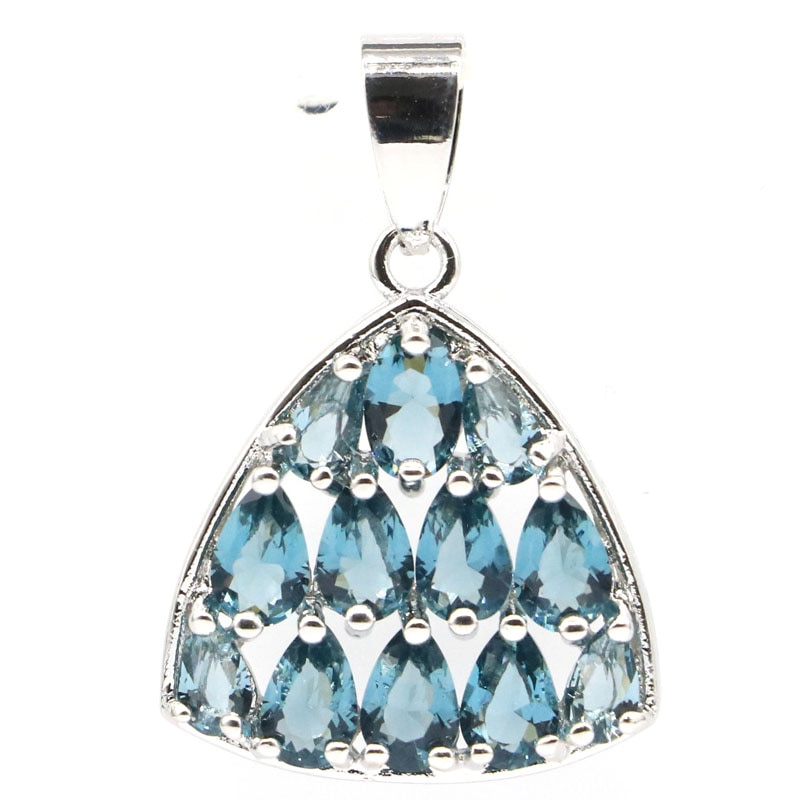 30x20mm Beautiful Created London Blue Topaz Womans Jewelry Making Silver Pendant
