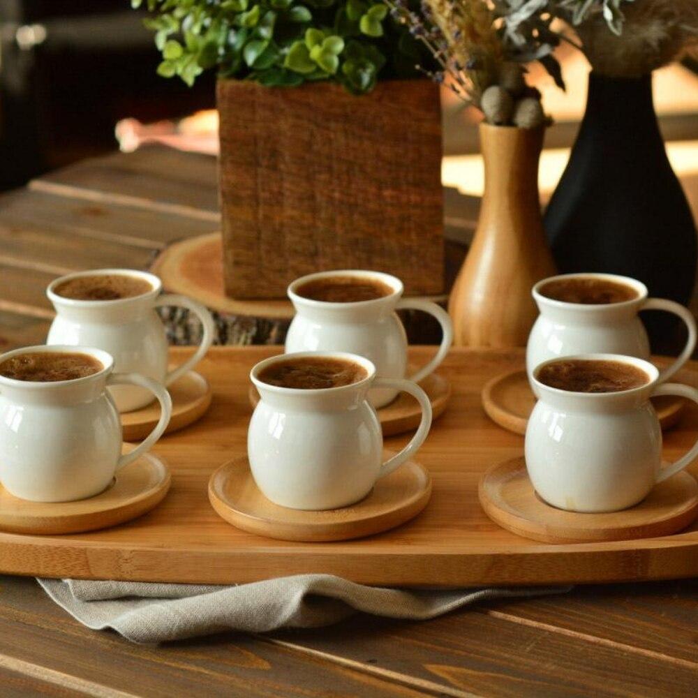 فنجان قهوة تركي تقليدي محاصر 6 طقم أكواب و 6 أطباق أكواب بورسلين القدح الحرة SHİPPİNG