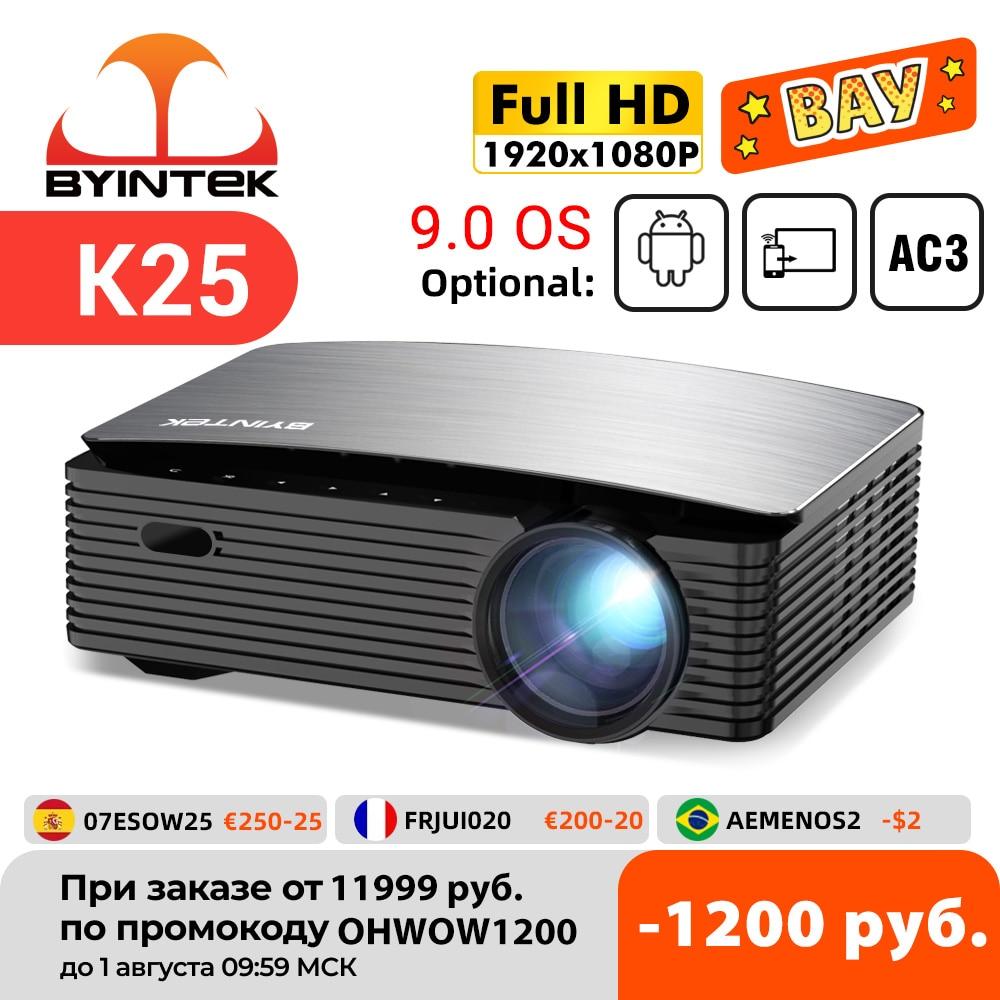 جهاز عرض سينمائي للفيديو مزود بتقنية LED والواي فاي 1920 P بشاشة LCD ذكية 1080x9.0 P من byintk K25 فائق الدقة 4K لهاتف ذكي يعمل بنظام الأندرويد 1080 للهواتف الذ...