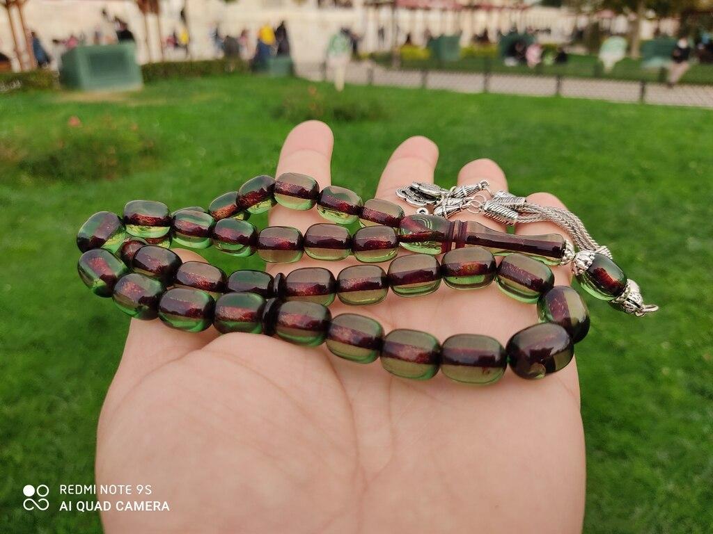Ottoman Faturan German Amber Sandalous Misbaha Prayer Beads Islamic Gift Tesbih Tasbeeh Tasbeh Rosary Tasbih #42C