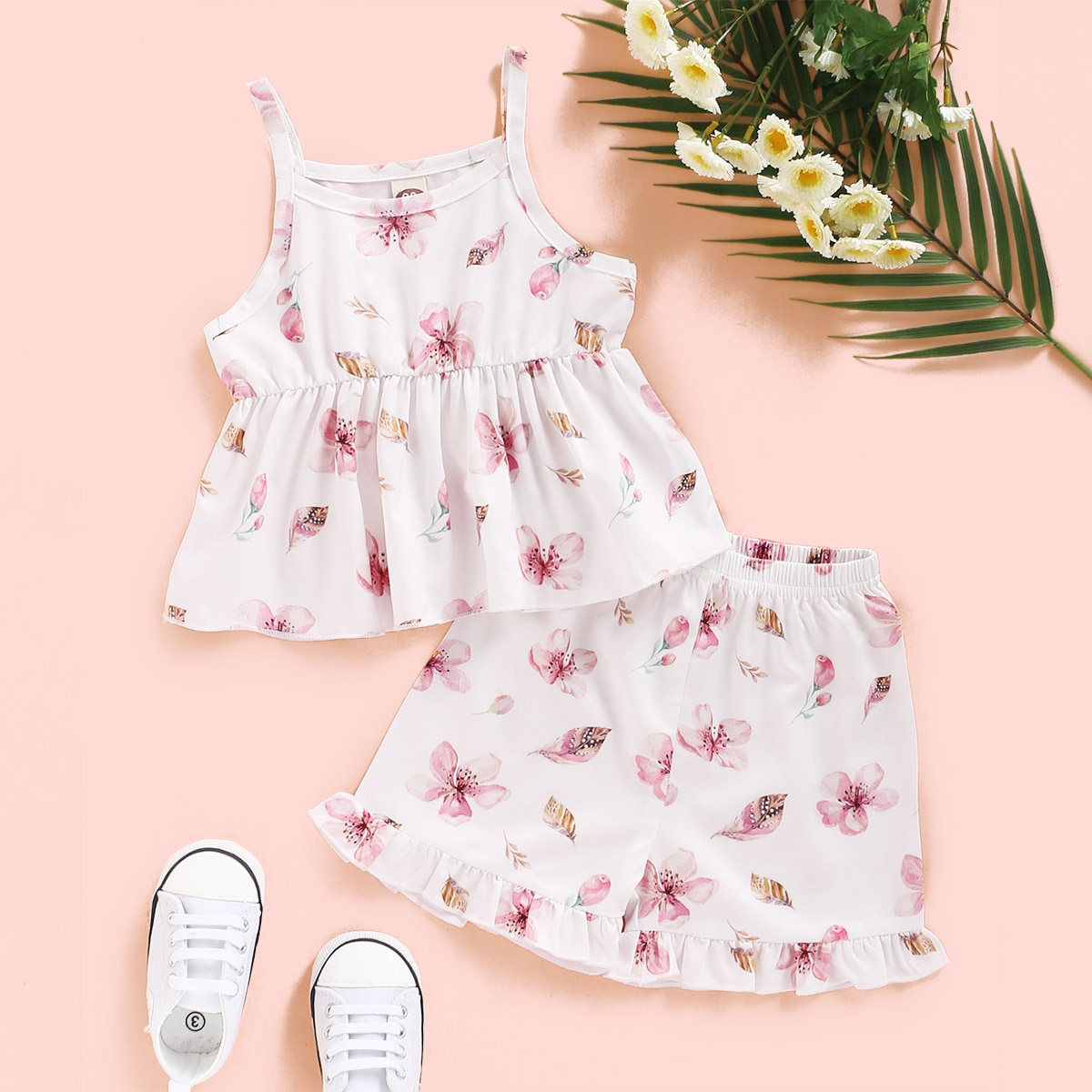 Infant Girls Summer Clothes Set Baby Sleeveless Vest Pink Floral Printed Shirt And Pants Free Shipping Toddler Girls Outfits Set
