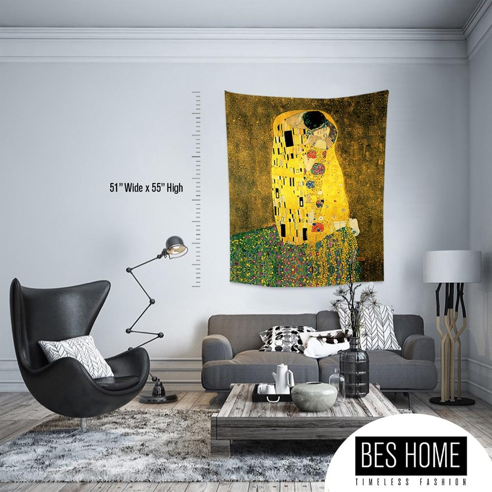 Gustav Климт-поцелуй, тканевые настенные вешалки, гобелены, текстильные настенные вешалки, украшения стен, гобелены