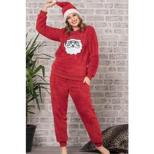 Conjunto de pijamas de lana con temática de sombrero rojo de Santa Claus, camisón de Otoño Invierno, ropa para el hogar, noche de adulto cómoda diaria Sexy