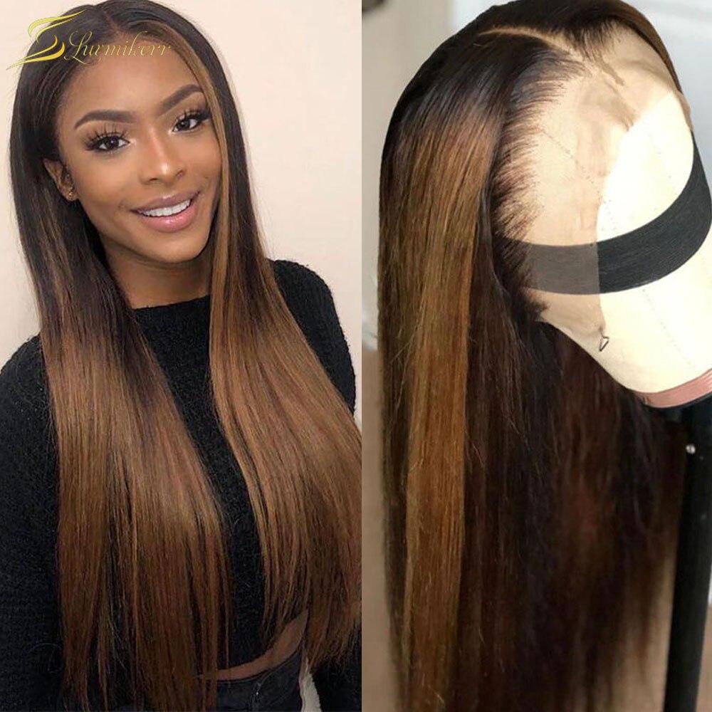 أومبير براون شقراء طويلة مستقيم الدانتيل الجبهة باروكة من الشعر الطبيعي تسليط الضوء على لون شفاف HD الدانتيل الباروكة أمامي كامل مفترس 13x6