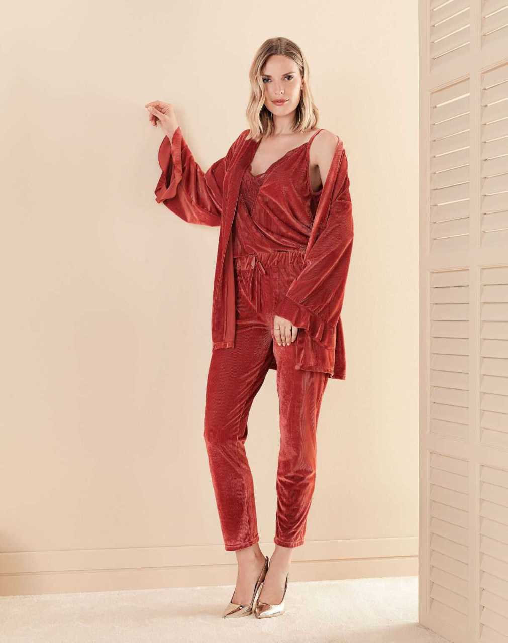Women's Pajamas Set SIX Piece %100 Polyester Dressing Gown and Nightgown Free Shipping from Turkey