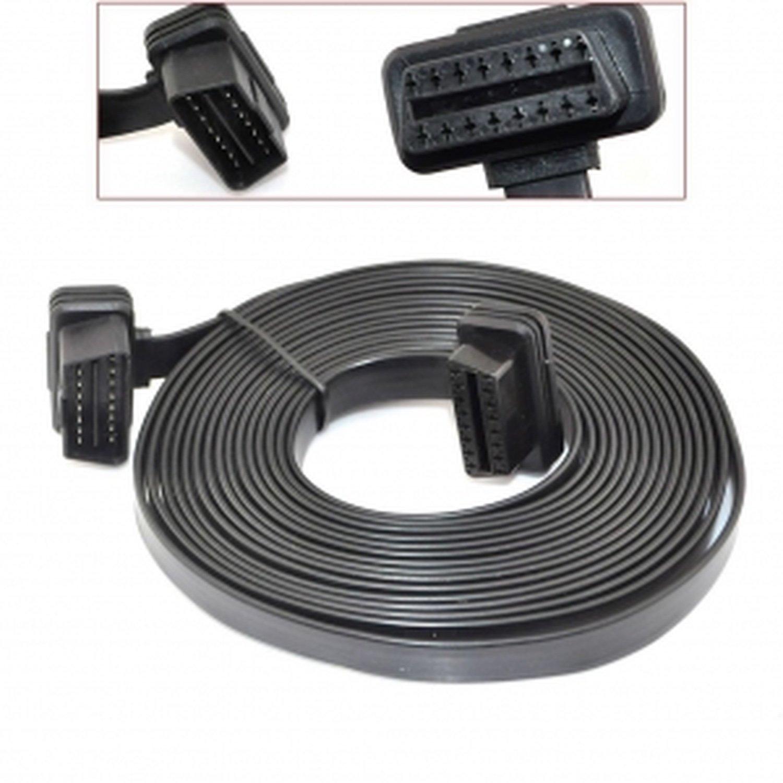 5M Flat Male to Female OBD 2 OBD-II Car Diagnostic Extension Cable 16 Pin