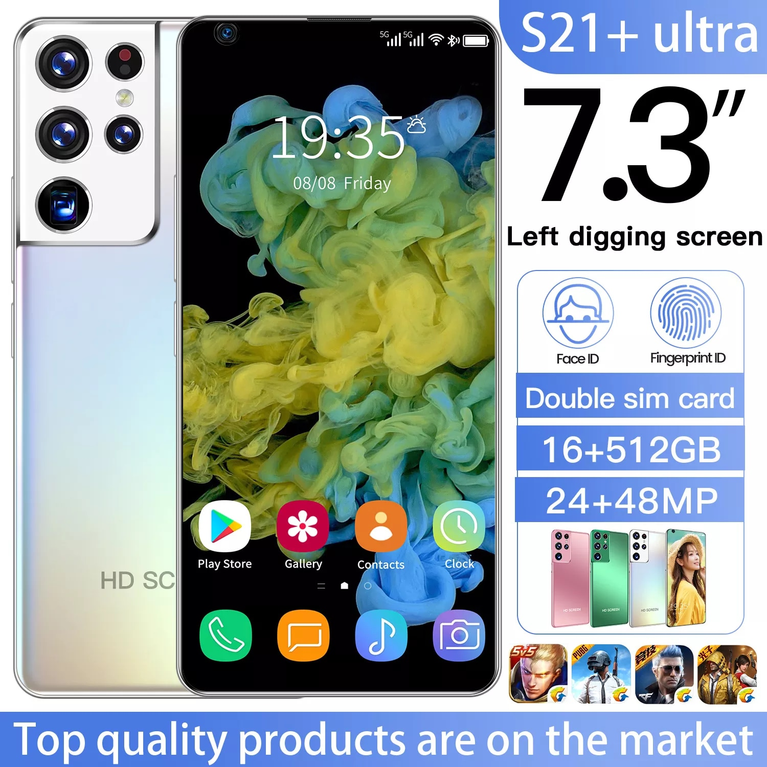 S21+Ultra Smartphone 7.3 Inch and 16GB RAM 512GB ROM Android 10.0 Mobile Phones Global Version 5G Cellphones