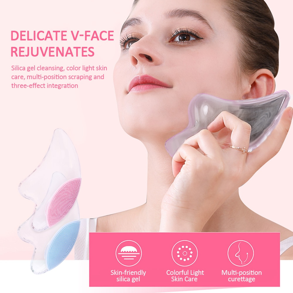 Colorido cristal claro Jade Tabla de raspado masajeador Facial terapia de presión raspador cuidado de la salud herramientas de masaje de belleza