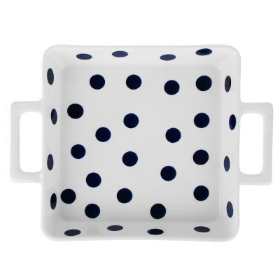 Molde cuadrado para hornear con puntos con asas de cerámica herramientas de cocina productos de panadería
