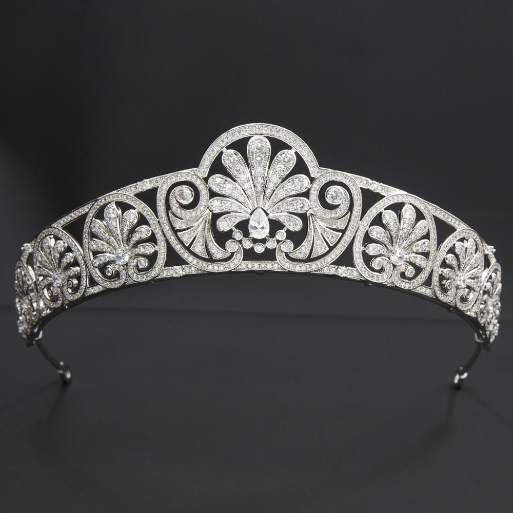 تاج الزفاف الملكي الزركوني الكلاسيكي ، تاج الزركونيا ، تاج العسل الكريستالي ، مجوهرات شعر العروس CH10362