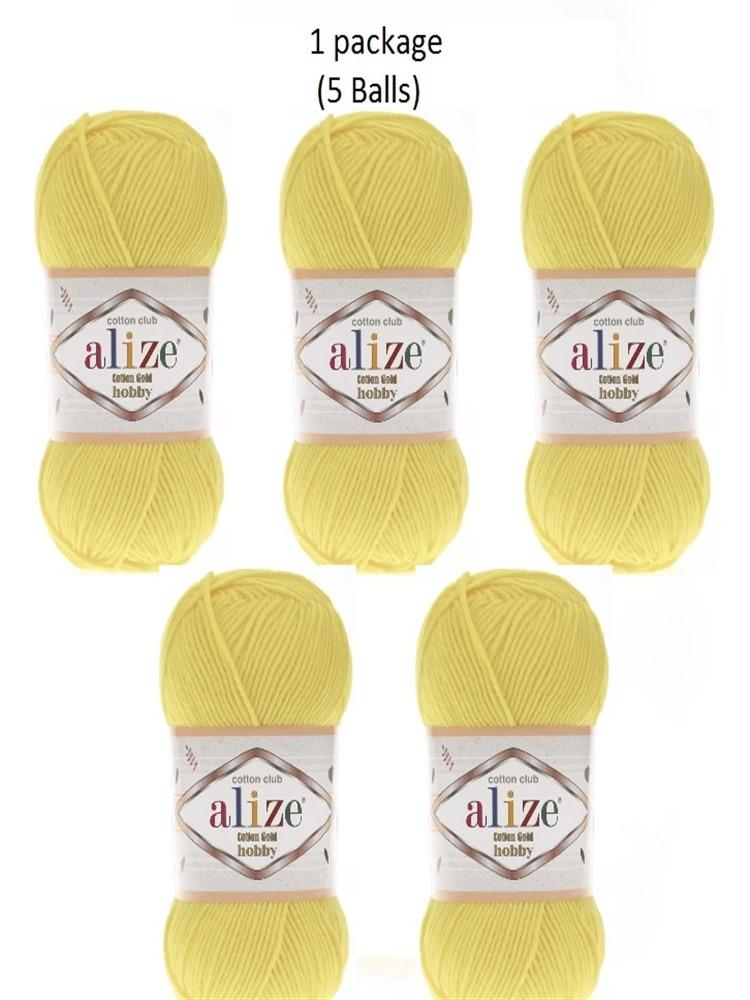 Hilo 1 paquete (5 bolas) Alize batik de algodón oro Hobby luz amarillo hilado de Amigurumi (1 pelota 165 Mt/50 gramos) color Number 187