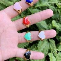 heart shape rainbow enamel finger ring classic adjustable brass jewelry for women gifts