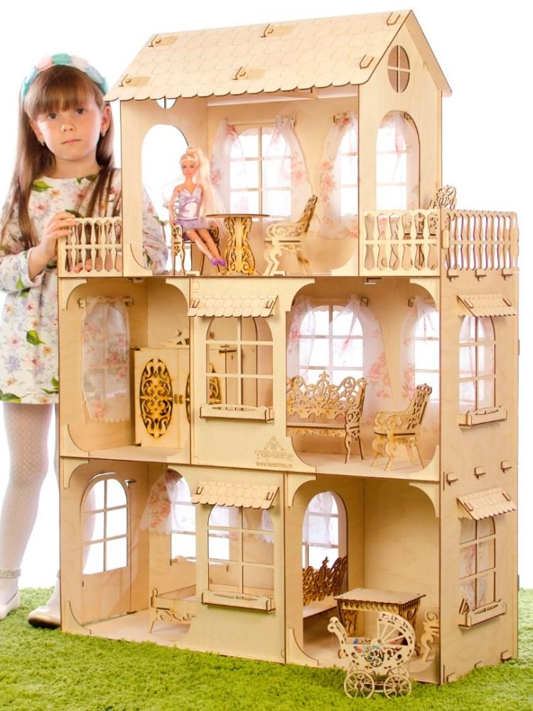 Большой кукольный домик для Барби деревянный дом для кукол Барби высотой 115 см
