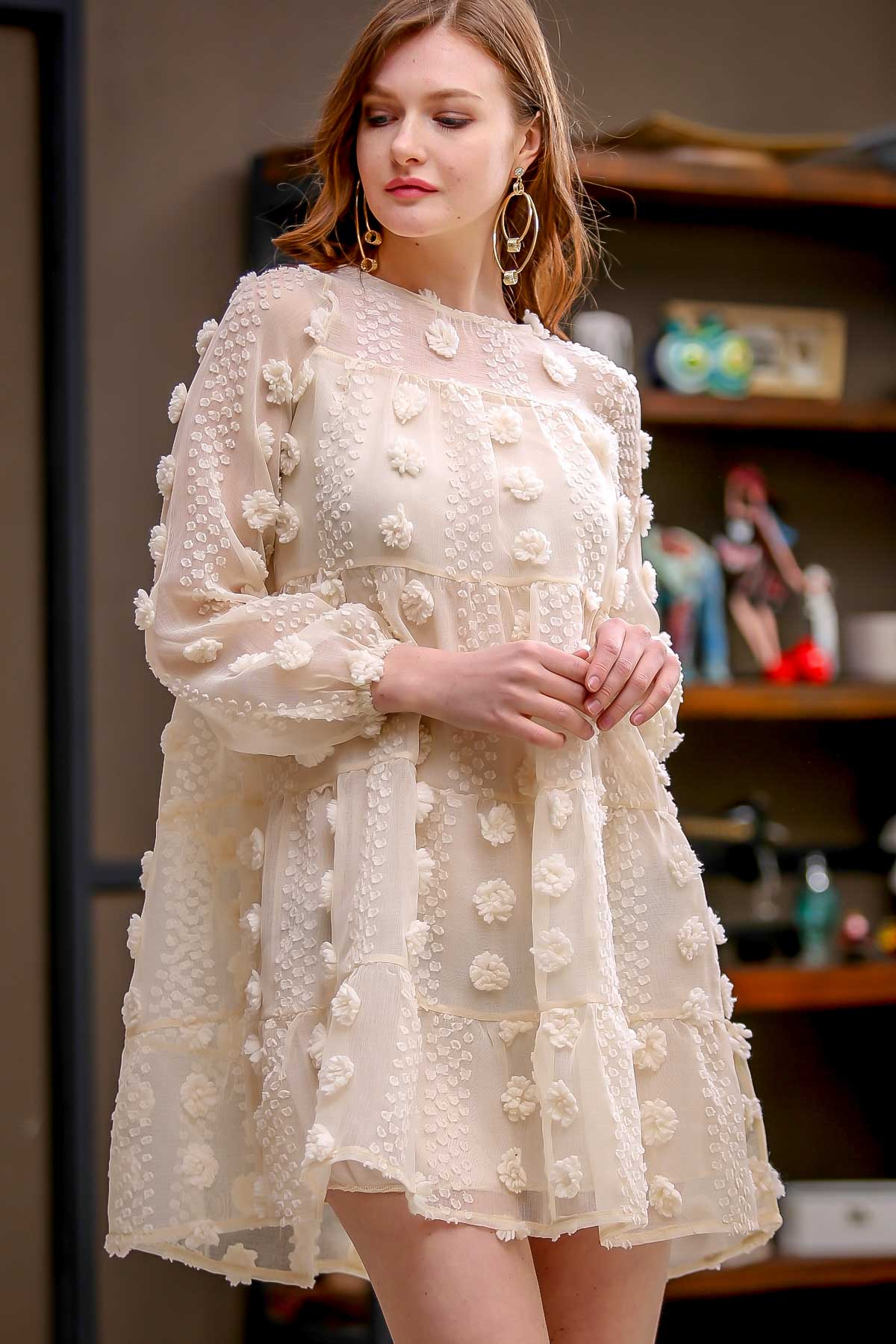 Retro gigante puffs detallada vestidos