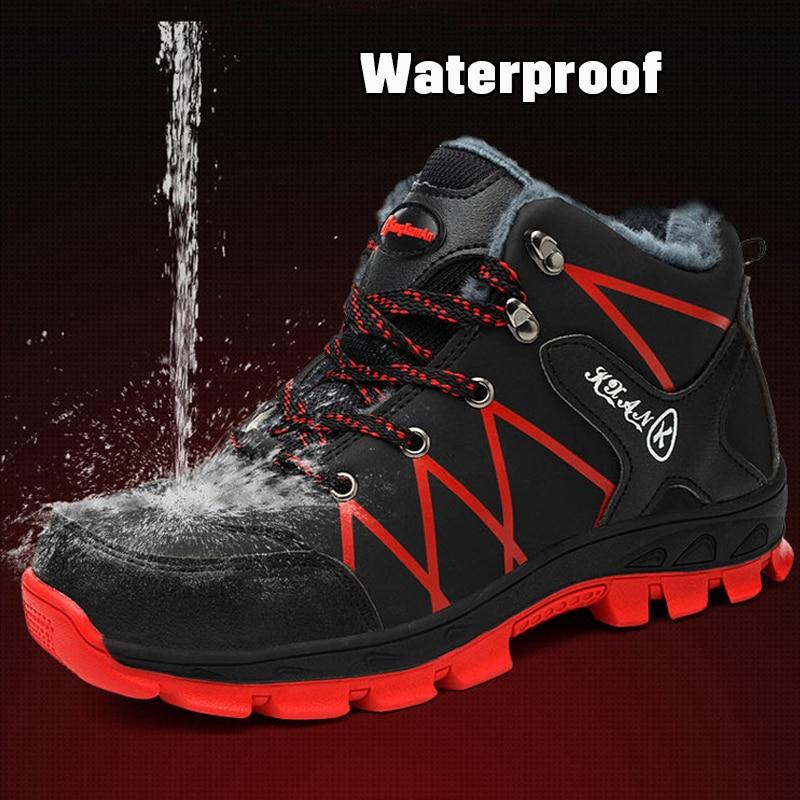 Chaussures de sécurité de travail imperméables pour homme, bottes d'extérieur chaudes, imperméables et antidérapantes, bottines de neige épaisses en caoutchouc peluche, collection hiver 2019