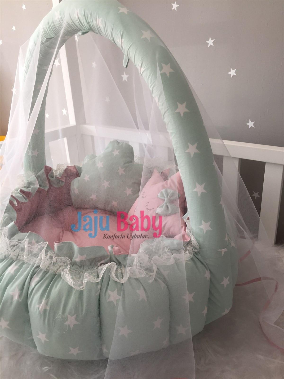 Jaju Baby Handmade Green Star Patterned Design Luxury Play Mat Babynest Mosquito Net Tulle Toy Kit Set enlarge