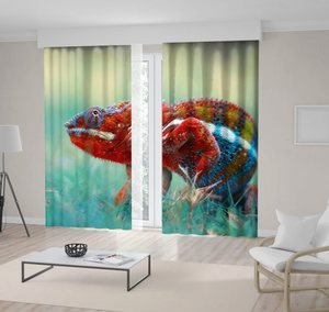 Curtain Colorful Chameleon on Becomes Blurred Background Tropical Animal Indonesia Wild Nature Photo Orange Blue Green