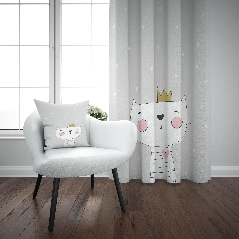 Else Gray White King Cat Nordic Scandinavian 3d Print Kids Baby Children Window Panel Set Curtain Combine Gift Pillow Case
