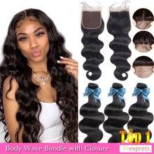 Beaudiva Braziliaanse Haar Body Wave 3 Bundels Met Sluiting Menselijk Haar Bundels Met Sluiting Lace Sluiting Remy Human Hair Extension
