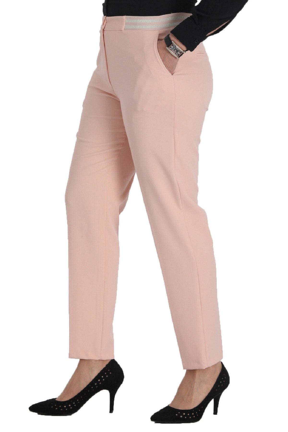 Calças femininas 2020 diário casual molde elegante plus size calças de pano bolsos de escritório elegante cintura alta nova temporada feita na turquia