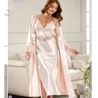 women satin lace long 2 piece home comfortable night wearable cool and warm sexy nightgown dressing gown suit sizes m l