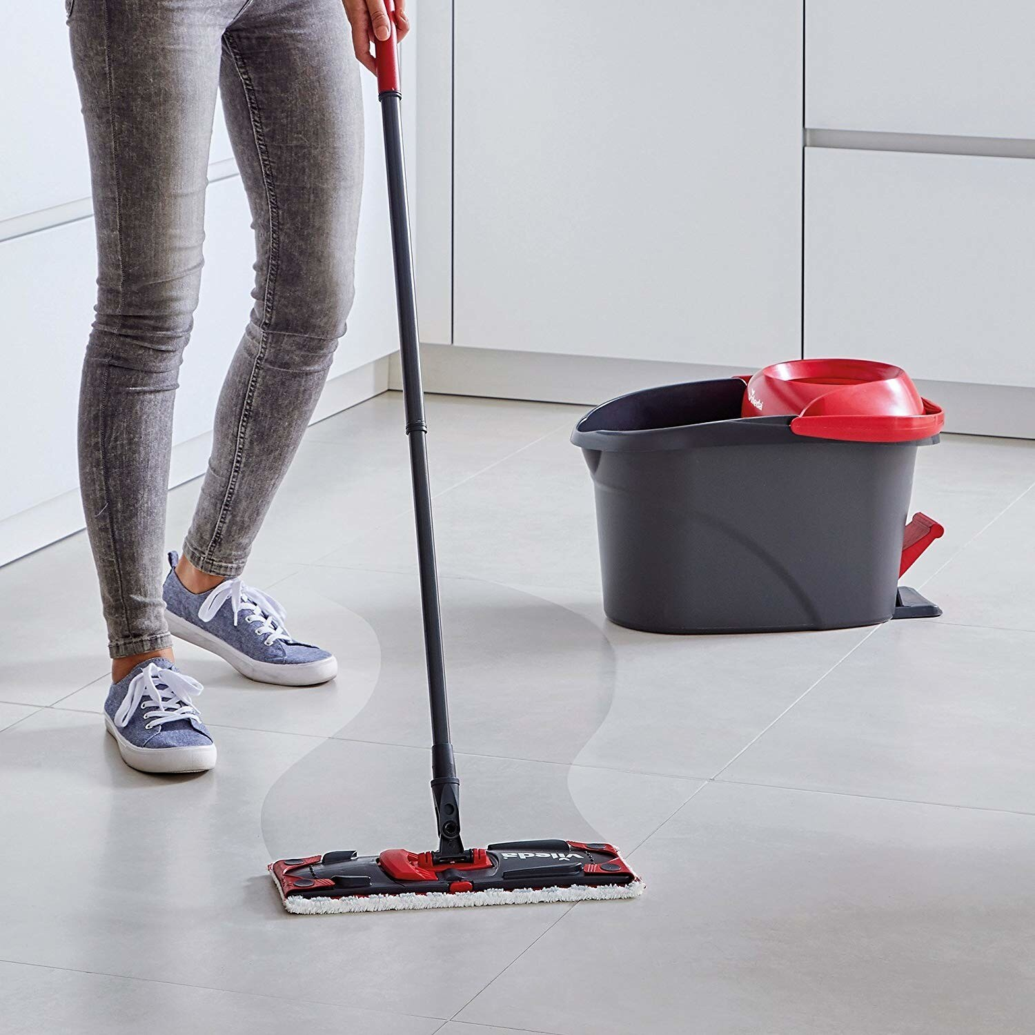 Vileda Ultramat Turbo Mop with push and bucket  2in1 Cleaning Set Home Office Mop with push. Mop lentika enlarge