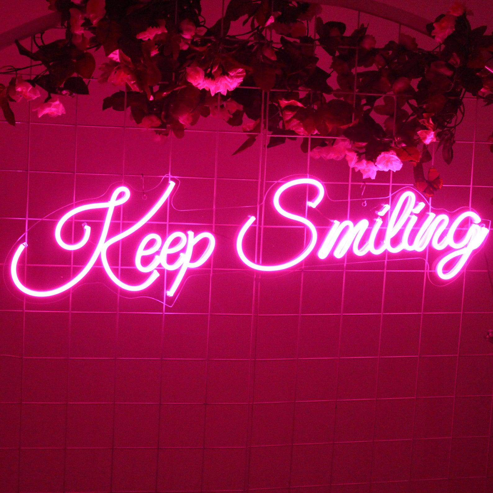الحفاظ على ابتسامة النيون تسجيل مخصص صورة ظلية الديكور مرنة وحدة إضاءة LED جداريّة غرفة نوم الاكريليك الفن الوردي الأحبة هدايا بطابع شخصي ل